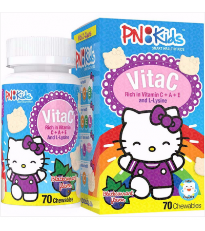 PNKIDS HELLO KITTY CHEWABLE: VITAMIN C WITH LYSINE (BLACKCURRANT)