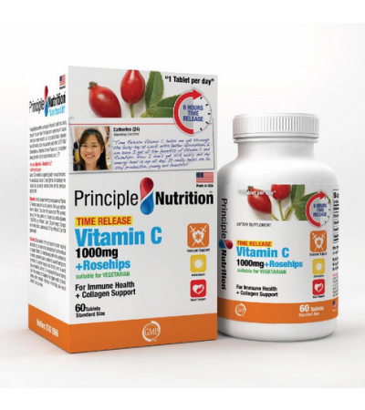 Principle Nutrition Vitamin C 1000mg Time Release + Rosehips (60s)