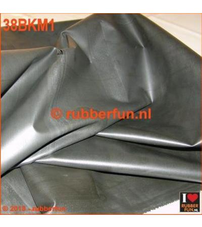 RUBBER SHEETING - BLACK - MACK. RUBBER - 85 CM WIDE - 0.48 MM THICK.