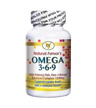 Natural Fervor OMEGA 3.6.9 Fish, Flax & Borage Complex- 90 Softgels