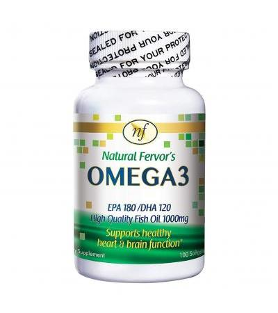 Natural Fervor OMEGA3 EPA 180/DHA 120 Fish Oil- 100 Softgels